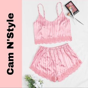 New Pink Striped Satin Silk-Like Lace Pajama Set